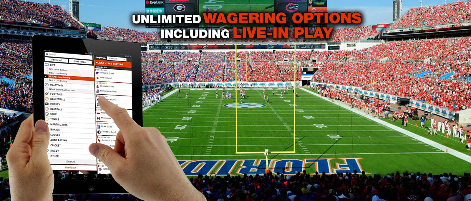 Unlimited wagering options including live in play - WagerHome