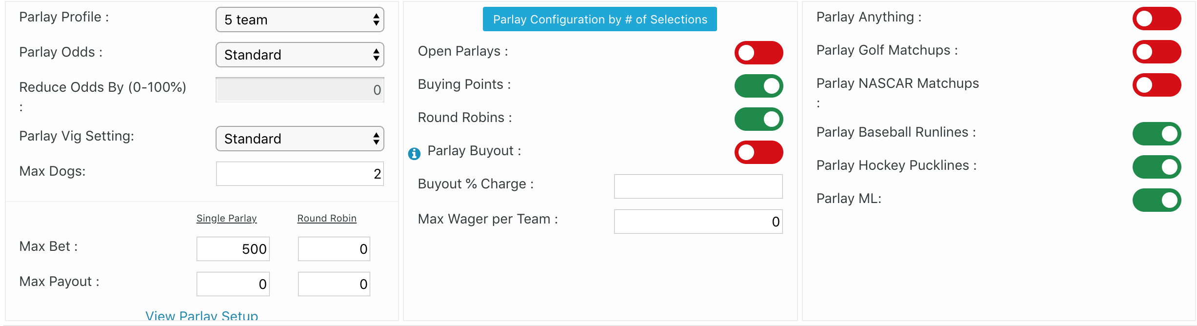 parlay wager home